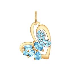 Золотая подвеска Бабочка (Топаз, Фианит) SOKOLOV