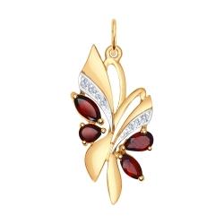 Золотая подвеска Бабочка (Гранат, Фианит) SOKOLOV