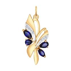Золотая подвеска Бабочка (Сапфир ГТ, Фианит) SOKOLOV