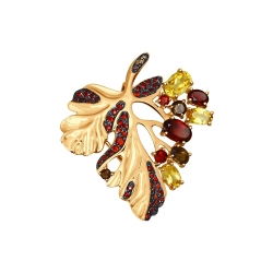 Золотая подвеска Осенний лист с цветными камнями SOKOLOV
