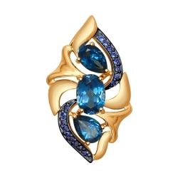 Подвеска из золота с синими топазами и синими фианитами SOKOLOV