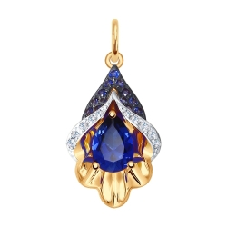 Подвеска из золота с синими корундами (синт.) и бесцветными и синими фианитами SOKOLOV