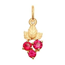 Подвеска из золота с красными корунд (синт.)