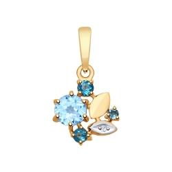 Подвеска из золота с голубым синими топазами и фианитом