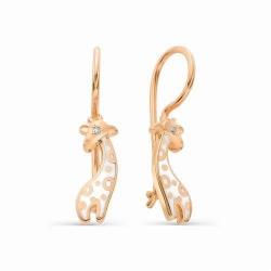 Детские золотые серьги в виде жирафов (Эмаль, Бриллиант)