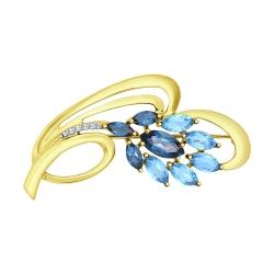 Брошь Цветы из желтого золота с голубыми и синими топазами фианитами SOKOLOV