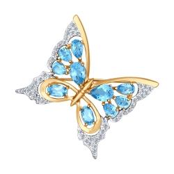 Золотая брошь Бабочка (Фианит, Топаз) SOKOLOV