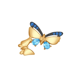 Золотая брошь с бабочками (Фианит, Топаз) SOKOLOV