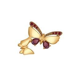 Золотая брошь с бабочками (Фианит, Гранат) SOKOLOV