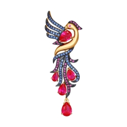Золотая брошь Жар-птица (Фианит, Корунд) SOKOLOV