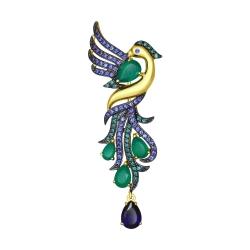 Брошь Райская птица из желтого золота с миксом камней