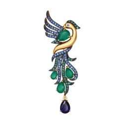 Золотая брошь Жар-птица (Агат прессованный, Корунд, Фианит) SOKOLOV