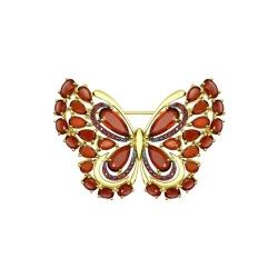 Брошь Бабочка из желтого золота с гранатами и красными фианитами