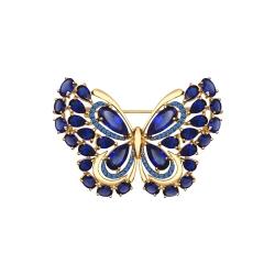 Золотая брошка Бабочка(Корунд, Фианит) SOKOLOV