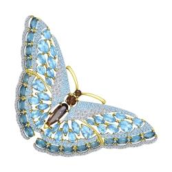 Брошь Бабочка из желтого золота с миксом камней