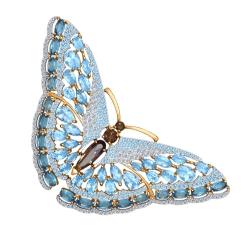 Золотая брошка Бабочка (Топаз, Фианит, Раухтопаз) SOKOLOV