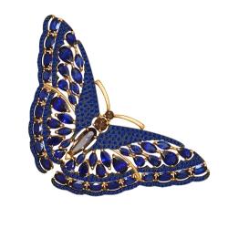Золотая брошка Бабочка (Сапфир ГТ, Раухтопаз) SOKOLOV