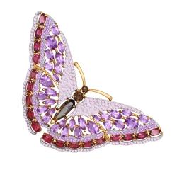 Золотая брошка Бабочка (Аметист, Фианит, Раухтопаз, Родолит) SOKOLOV
