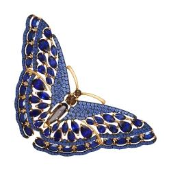 Золотая брошка Бабочка (Раухтопаз, Фианит, Корунд) SOKOLOV