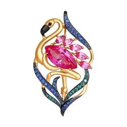 Золотая брошь Фламинго с красными корундами и зелеными, синими чёрными фианитами Dolce Vita