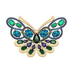Брошь Бабочка из золота с корундом, опалами, ситаллами зелеными и синими фианитами