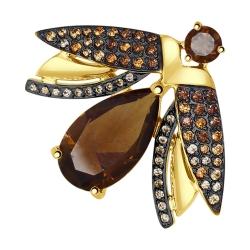 Брошь Пчелка из желтого золота с раухтопазами и фианитами