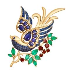 Золотая брошь с миксом камней SOKOLOV Dolce Vita