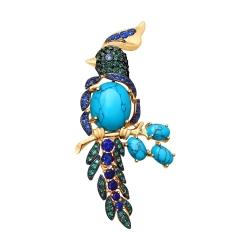 Золотая брошь Птица с бирюзой, синими корундами и зелеными фианитами SOKOLOV