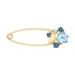 Брошь Булавка из золота с голубым синими топазами и фианитом