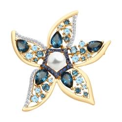 Брошь Морская звезда из золота с миксом камней