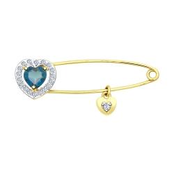 Брошь Булавка с сердцем из желтого золота с синим топазом и фианитами