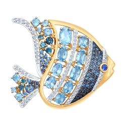 Брошь Рыбка из золота с голубыми синими топазами и фианитами