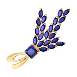 Брошь Верба из золота с синими корундом