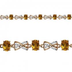 Золотой браслет с цитрином, фианитом