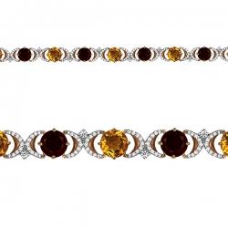 Золотой браслет с цитринами, гранатами и фианитами
