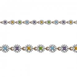 Золотой браслет с цветными камнями