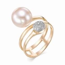 Женское золотое кольцо с розовым жемчугом и бриллиантом