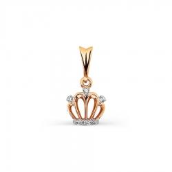 Золотая подвеска Корона с бриллиантами