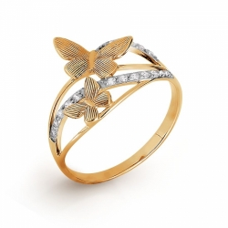 Золотое кольцо Бабочки с фианитами