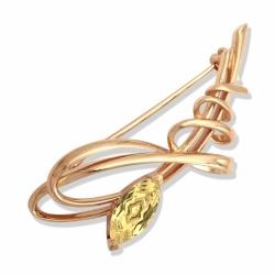 Золотая брошь Тюльпан с цитрином
