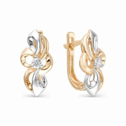 Золотые серьги в виде цветов (Бриллиант)