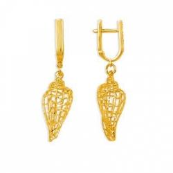 Серьги Ракушки из желтого золота