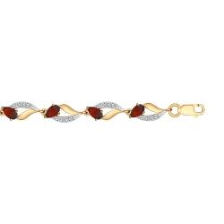 Золотой браслет (Гранат, Фианит) SOKOLOV