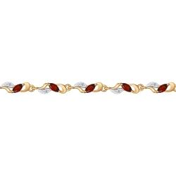 Золотой браслет (Фианит, Гранат) SOKOLOV