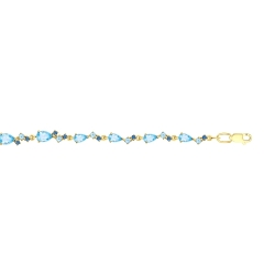 Браслет из желтого золота с голубыми и синими топазами