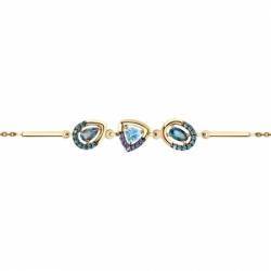 Браслет из золота с голубым и синими топазами и фианитами Sokolov