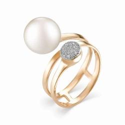 Женское золотое кольцо (Жемчуг, Бриллиант)