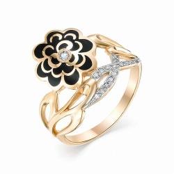 Женское золотое кольцо с цветком(Эмаль, Бриллиант)