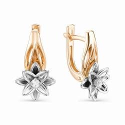 Золотые серьги Цветы (Бриллиант)