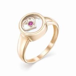Женское золотое кольцо (Рубин, Ювелирное стекло)